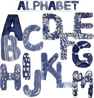 Alfabeto dipinto a mano dell'acquerello