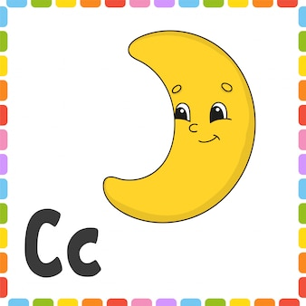 Alfabeto divertente. lettera c - mezzaluna. schede flash quadrate abc.