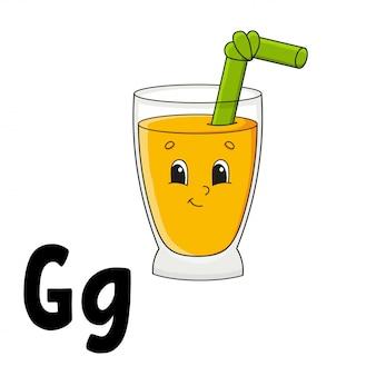 Alfabeto divertente. schede flash abc. simpatico personaggio dei cartoni animati isolato. per l'educazione dei bambini