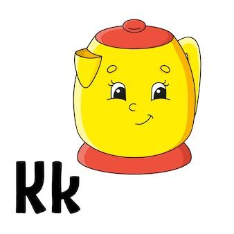 Alfabeto divertente. schede flash abc. simpatico personaggio dei cartoni animati isolato
