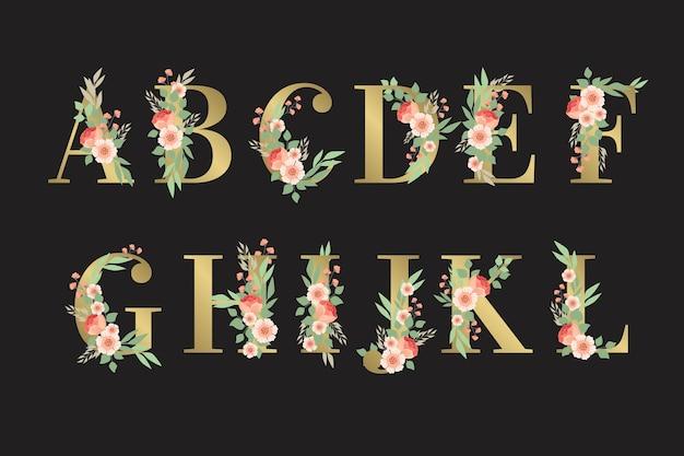 Alfabeto dorato con disegno floreale
