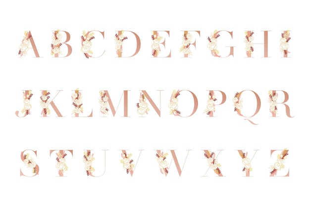 Alfabeto dorato con fiori diversi