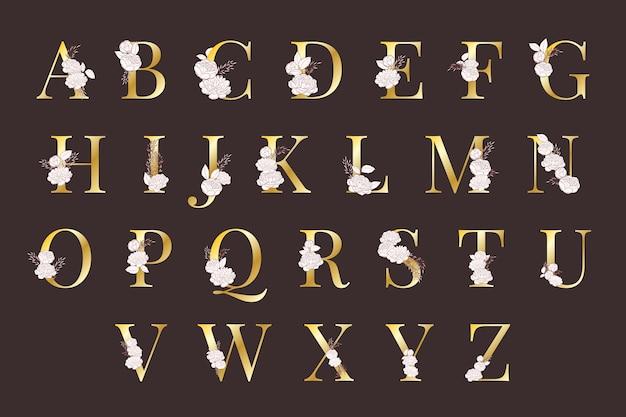Alfabeto dorato con fiori eleganti
