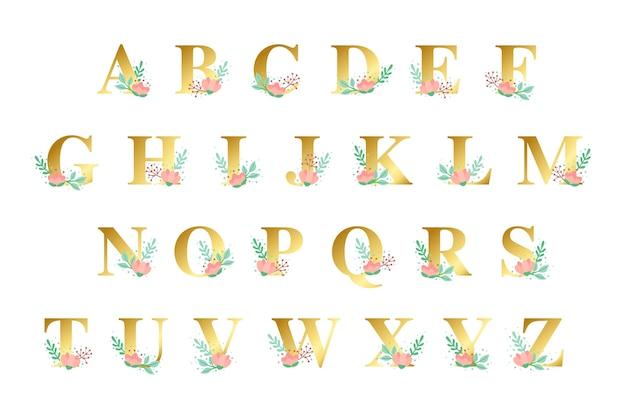 Alfabeto dorato con tema di fiori d'oro