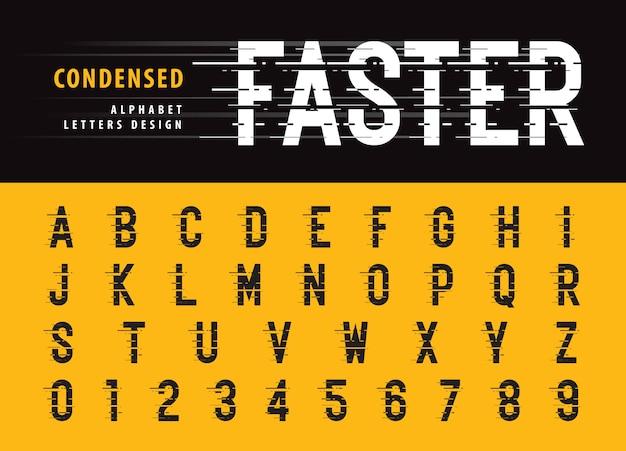 Alfabeto e numeri in stile glitch