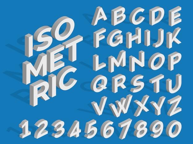 Alfabeto e numeri isometrici di vettore. carattere 3d funky