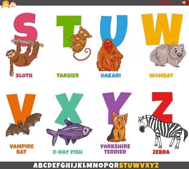 Alfabeto educativo del fumetto impostato con personaggi animali