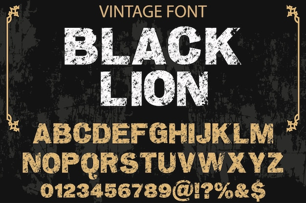 Alfabeto effetto ombra font design black lion