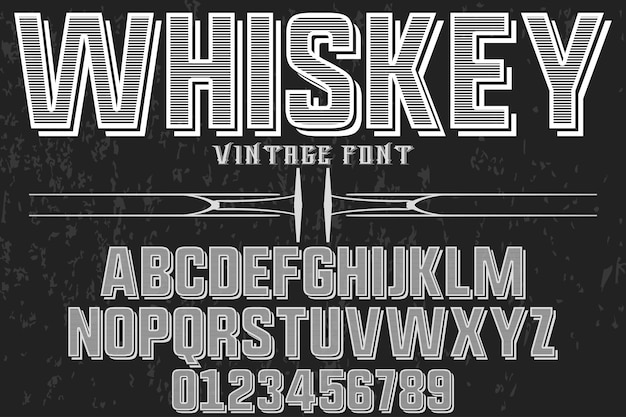 Alfabeto etichetta design whisky