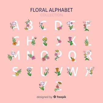 Alfabeto floreale disegnato a mano