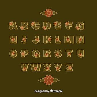 Alfabeto floreale in stile anni '60 su sfondo marrone