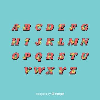 Alfabeto floreale in stile anni '60