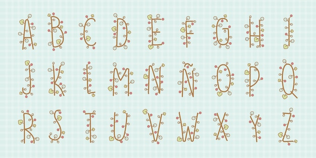Alfabeto floreale kawaii