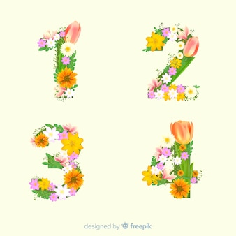 Alfabeto floreale realistico
