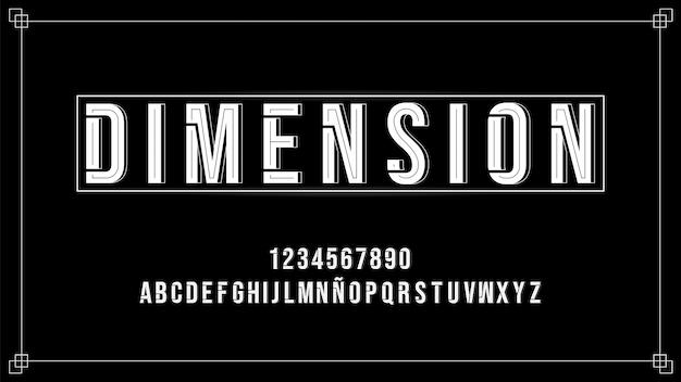 Alfabeto futuristico con effetto dimensionale