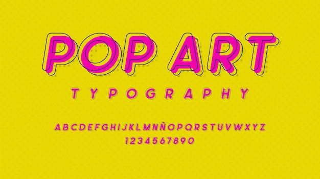 Alfabeto futuristico con effetto pop art