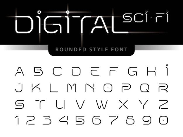 Alfabeto futuristico lettere e numeri, tecnologia digitale