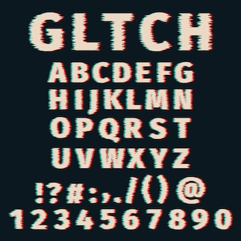 Alfabeto glitch distorto lettere e numeri dei caratteri. impostato con effetto pixel rotto, vecchio effetto matrice tv distorto.