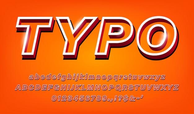 Alfabeto grassetto moderno 3d set di lettere luminose, numeri e caratteri speciali per il titolo