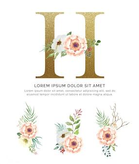 Alfabeto h con mazzi di fiori collezione acquerello.