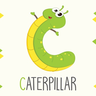 Alfabeto illustrato lettera c e caterpillar