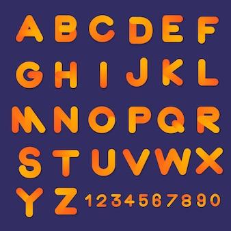 Alfabeto impostare colori sfumati di stile di carattere bolla 3d. design piatto illustrare.