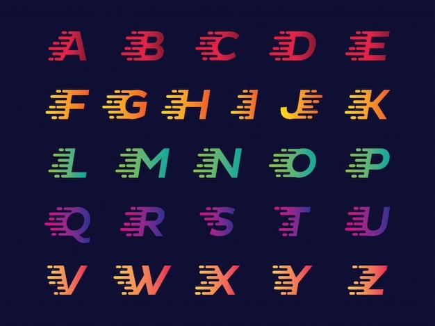 Alfabeto in diversi colori sfumati insieme vettoriale