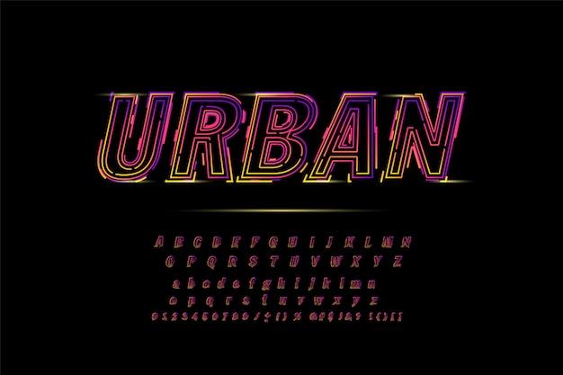 Alfabeto in grassetto al neon per maglietta, corsa, gioco, promozione, poster