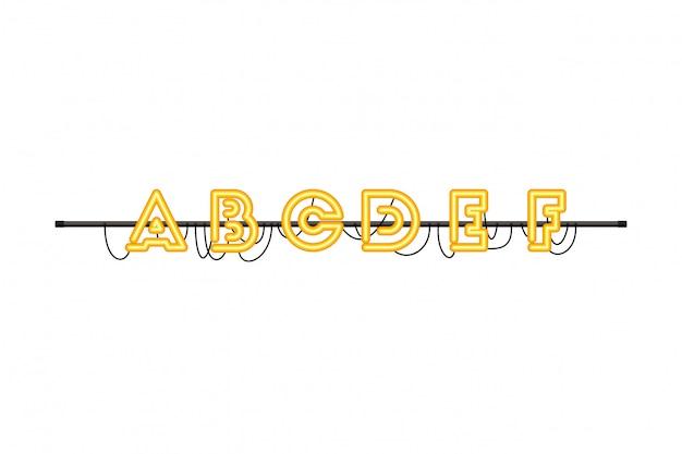 Alfabeto in icona isolata luce al neon