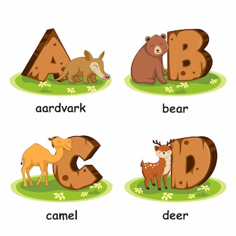 Alfabeto in legno animali aardvark orso cervo cammello