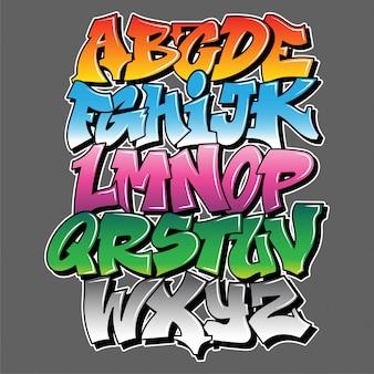Alfabeto in stile vandalo di graffiti, lettere con effetto spray di vernice spray.