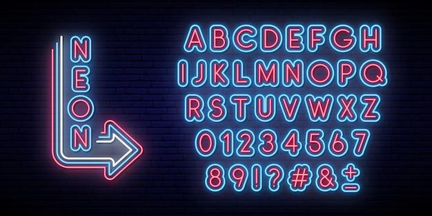 Alfabeto incandescente al neon. carattere tipografico luminoso.