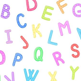 Alfabeto infantile sveglio della grafica vettoriale, modello senza cuciture di vettore