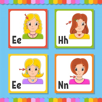 Alfabeto inglese. carte flash quadrate lettera e, h, n. abc.
