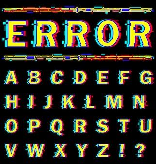 Alfabeto inglese con effetto distorsione