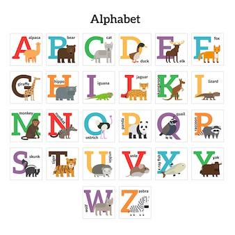 Alfabeto inglese degli animali dello zoo