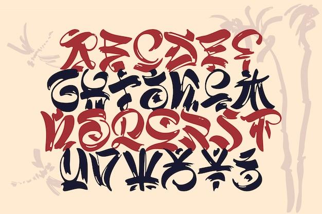 Alfabeto inglese di geroglifici di stile orientale