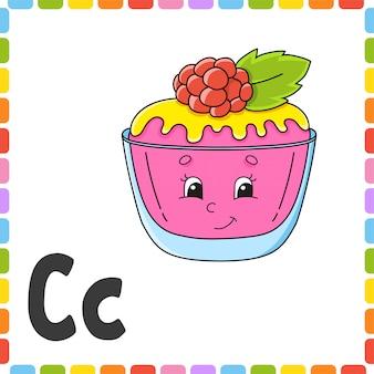 Alfabeto inglese. lettera c - torta. schede flash quadrate abc.