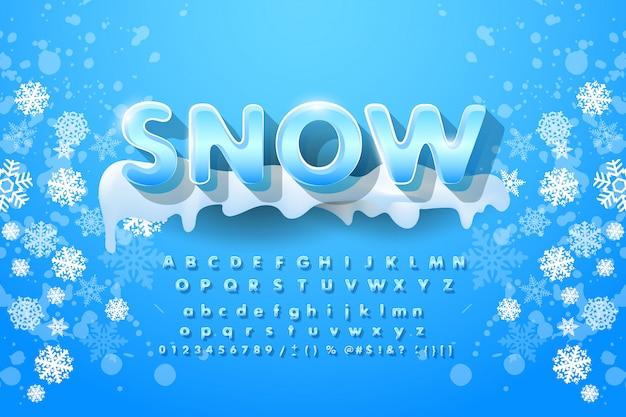 Alfabeto invernale con neve.
