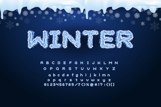 Alfabeto invernale vettoriale con fiocchi di neve.