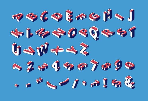Alfabeto isometrico, abc, numeri e segni di punteggiatura.