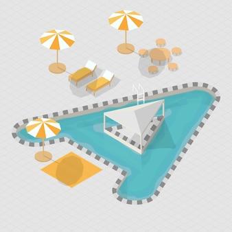 Alfabeto isometrico della piscina 3d a