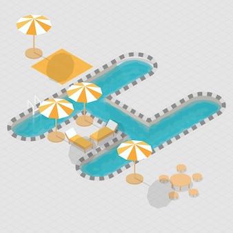 Alfabeto isometrico della piscina 3d h