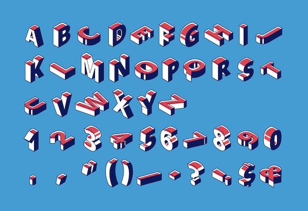 Alfabeto isometrico, numeri e segni di punteggiatura con punti punteggiati in piedi e giace in grezzo sul blu.