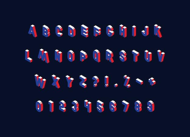 Alfabeto isometrico su oscurità. lettere maiuscole vintage alla moda, numeri e segni