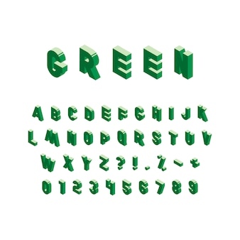 Alfabeto isometrico verde su bianco. lettere maiuscole vintage alla moda, numeri e segni