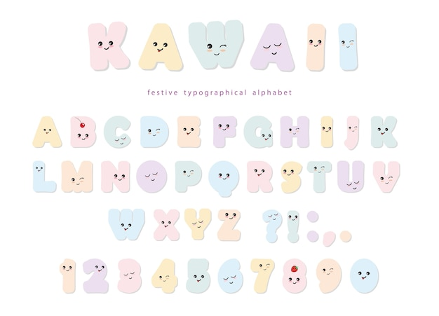 Alfabeto kawaii in colori pastello