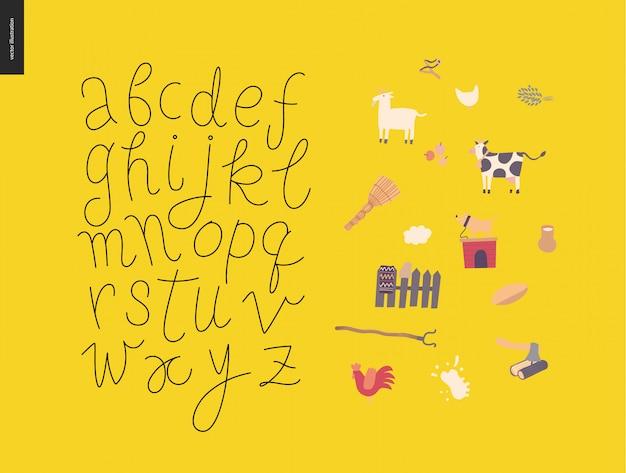 Alfabeto latino del manoscritto scritto a mano di vettore