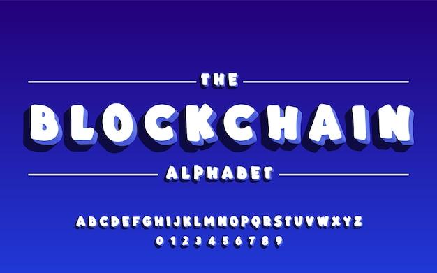 Alfabeto latino. grassetto carattere 3d blockchain