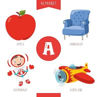 Alfabeto lettera a e immagini